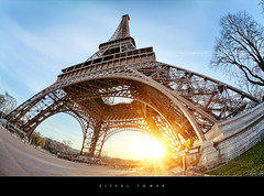 Eiffel tower, Paris (Beboy_photographies) Tags: paris france soleil tour eiffel jour fisheye hdr contre