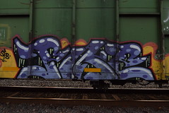 PIKE (TheGraffitiHunters) Tags: graff graffiti spray paint street art colorful freight train tracks benching benched pike dumpster car