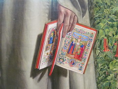 Convent Thoughts [detail] (pefkosmad) Tags: conventthoughts art painting victorian ashmoleanmuseum oxford oxfordshire oxon artgallery museum public charlesallstoncollins nun woman book symbolism preraphaelite religion religious garden virginmary missal illuminated