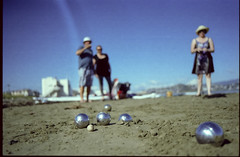 Boules (thenorthernmonkey77) Tags: kodak nikon fe2 50mmf18 beach boules petanque balls metal newzealand nz wellington lyallbay summer blueshy narrowdof wideopen homescanned sand kodak200 film lovefilm shootfilm filmsnotdead 35mm 35mmphotography