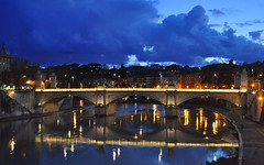 DSC_0074 (@CarlosDorado) Tags: ponte puente reflects reflejos sant angello santangello vatican rome roma water river lights cloudy luces