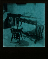 Green Piano & Chair (tobysx70) Tags: the impossible project tip polaroid slr680 frankenroid sx70 door rollers green duochrome film for 600 type cameras pioneer instant black frame impossaroid piano chair la casa de estudillo old town san diego ca keyboard beautiful light interior ogfc polawalk 081116 toby hancock photography