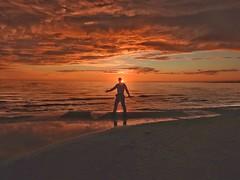 Golden midnight (KaarinaT) Tags: sunset midnight midnightsun summer kalajoki finland beach man golden sky water sea