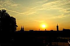 Cologne City Skyline (cUb3P1xL) Tags: city cologne köln skyline night sunset orange golden sun sky clouds black contrast colours horizon landscape tower dom church romantic romantisch summer day hot warm evening germany deutschland stadt natur