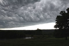 (elisecavicchi) Tags: storm rainstorm approaching looming clouds dramatic intense rural farm farmstead maine albion countryside pond tree silhouette field reflection illumination horizon skyline mood summer july explore anticipation fenceline billow gathering