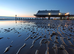 N (Steve Farrow Photography) Tags: cleethorpes sunrise humber water beach sand groin pier jetty sea sky clouds colour boat fishing ripples dawn light buoys outdoor sunset coast