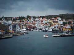 Grundsund Hamn_c (gnarlydog) Tags: adaptedlens pentax11070mmf28 manualfocus sweden sea harbour sailingboat yacht rain sky dramatic dark storm westcoast grundsund