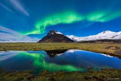By the Roadside (CResende) Tags: landscape borealis travel iceland niceland aurora green roadside moonlight night nikon cresende d810 longexposure mountain reflexo