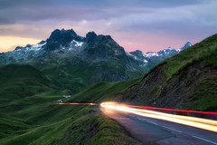 Light to the mountain (Patrice Vallet) Tags: sky sunset mountains travel light clouds road summer france mountain alps trail col de la croix fer blue hour