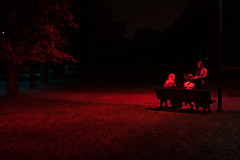 red lights in the park (Tomek Banach) Tags: park night red light 28mm leica q warsaw