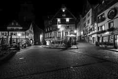 Empty Monschau at night (NicVW) Tags: ancient antique architecture black blackwhite buildings european exposure german germany hill historical house landmark light medieval middle monschau night nobody nostalgia old retro rustic stones street terrasse tourist town village white wooden