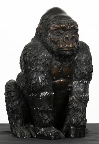 """Bronze Gorilla Sculpture, 17"""" Tall ($89.60)"""
