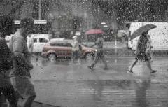 Rainy Day at the Museum (Daren N.) Tags: rom royal ontario museum rain street window drops umbrella traffic