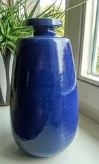 VEB Keramikwerke Coswig - Large Blue Elegantly Shaped Vase (Ahornblatt2012) Tags: egp studio keramik gdr ddr vintage vase retro artpottery blue bürgel coswig veb carl fischer