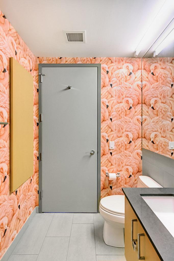 Flamingo Bathroom (Paintzen) Tags: Bathroom Design Toilet Mirror Wall Door  Flamingo Wallpaper Pink
