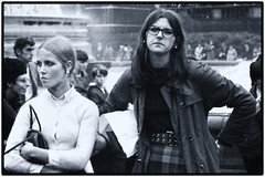 LONDON - TRAFALGAR SQUARE - 1966 OR 1967 (Richard Dargan) Tags: girls london young longhair blonde brunette spectacles raincoat plaidcheck cardigan belt earrings mascara