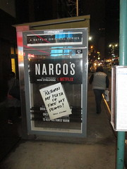 The Latest Narcos AD Escalation 6007 (Brechtbug) Tags: the latest narcos ad escalation bus shelter pile o money stolen removed tv show stop with piles slightly singed real fake or is it 2016 nyc image taken 10012016 midtown manhattan new york city 49th street 7th ave st avenue moola bogus netflix update they stole now there note
