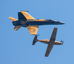 2016 CIAS - Break! (Jay:Dee) Tags: 2016 cias cne canadian international airshow air show national exhibition military aircraft airplane aeroplane aviation fighter rcaf royal force cf18 cf18a cf188 cf188a ct156 trainer texan ii bcatp british commenwealth training plan commemorative