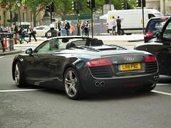 Audi R8 (kenjonbro) Tags: uk london westminster spider rear trafalgarsquare convertible spyder audi cabrio charingcross sw1 roadster quattro r8 2011 kenjonbro fujihs10