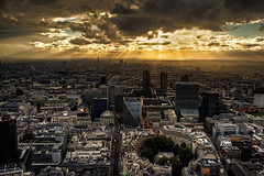 Crepuscular (murphyz) Tags: city light london architecture photography cityscape dusk barbican rays bttower londonist murphyz
