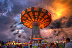 Will It Go Round In Circles Will It Fly High Like A Bird Up In The Sky - Salem Fair VA 2012 (Terry Aldhizer) Tags: summer sky clouds virginia twilight long exposure sundown chairs swings stormy fair terry salem aldhizer terryaldhizercom