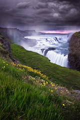 gullfoss - golden falls (Dennis_F) Tags: summer sky fall nature water colors beautiful river landscape island golden evening waterfall iceland wasser europa europe glow force power wasserfall sommer natur north norden himmel cascades polar fluss landschaft isle gullfoss kraft farben vulkan kaskade goldencircle goldenfalls abends vulcanic glhen islandic goldenerwasserfall