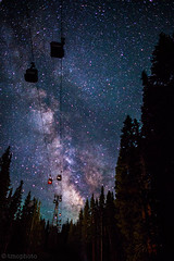aspen colorado gondola with milky way (tmo-photo) Tags: blue trees sky usa mountains nature silhouette mystery night forest dark way stars dawn shiny long exposure heaven glow shine time dusk g infinity space horizon deep twinkle astro sparkle galaxy astrophotography stunning planet astronomy aspen universe exploration incredible milky cosmic starry cosmos astrology distant milkyway starlight starrynightsky gondolaplaza