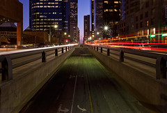the speed of light (Andy Kennelly) Tags: california street city blue light streets cars night speed buildings dark los long exposure downtown angeles trails location hour batman knight after railing filming dtla