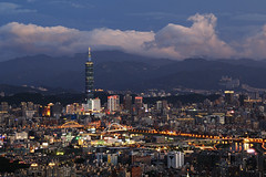 ( ) Tags: light sunset mountain night temple scenery cityscape taiwan 101  taipei taipei101      2012  101
