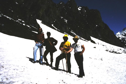 Trekking team at foot of Mt Lidderwat, Kashmir