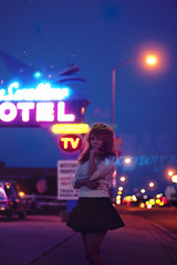 (yyellowbird) Tags: selfportrait newmexico girl night route66 neon motel cari tucumcari blueswallow