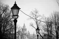 Helsinki at -20C (fede_gen88) Tags: street trees winter blackandwhite snow cold suomi finland helsinki europe branches lamps orthodox uspenski