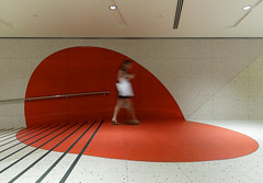 Red Spot and Pedestrian (yushimoto_02 [christian]) Tags: city red urban abstract architecture circle underground walking person design arquitectura singapore asia asien alone graphic interior pedestrian tunnel spot minimal indoors architektur minimalism passage minimalistic singapur singapura abstrakt