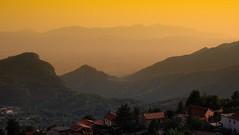 Panorama (Fabry™) Tags: italy view afternoon focus wide olympus twilight fisheye colline pano collina paesaggio landscape mountain montagna pendici allaperto panorama sunset tramonto orange roof tetto tetti horizon matese