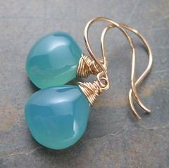 Aqua Chalcedony and Gold Briolette Earrings (AshleighAnnette) Tags: blue sea sky green drops juicy big wire aqua teal smooth wrapped drop foam earrings tear dangle plump briolettes brioletteearrings