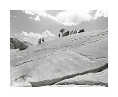 Tourists at Olmsted Point (Daiku_San) Tags: blackandwhite film mediumformat point ishootfilm yosemitenationalpark olmsted kodaktmax100 pentax67 bwfp smcpentax6x7454