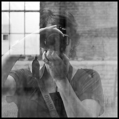 8-| (MoniqueDK) Tags: portrait blackandwhite bw reflection sony dirtywindow selfie moniquedk moniquedkoens