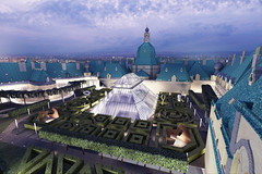 Proposed new roof garden; night-time view