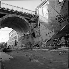 under the bridge (Vsevolod Vlasenko) Tags: bridge abandoned 120 film analog ruins odessa ukraine casino scan hasselblad oldstreet underthebridge kodak400tx oldcasino 50mmdistagon