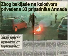 Zbog bakljade na kolodvoru privedena 33 pripadnika Armade (Novi List, 02.11.2006)