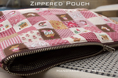 Pink Cheater Patchwork Pouch (Q Petra) Tags: pink bag handmade maroon sewing sew case fabric purse pouch zipper patchwork cosmetic wristlet