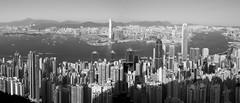 HK Panorama (fredMin) Tags: city hong kong skyscraper skyline china panorama travel building fuji monochrome black white fuijinon xt1