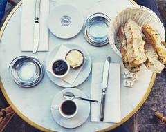 Petit djeuner.  Caf Ugo - Place Des Voges. (Bettinaincucina) Tags: instagramapp square squareformat iphoneography uploaded:by=instagram crema placedesvoges petitdejeuner dejeuner paneburromarmellata burromarmellata baguette parigi paris france igfrance igparigi igparis dessert breakfast colazione cafugo bettinaincucina