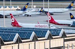 Flights lined up in Munich Airport