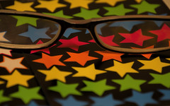 Seeing stars!  Macro Mondays - Stars (Exdeltalady) Tags: stars macromondays macro starshaped geometry angles primarycolors eyeglasses assignment