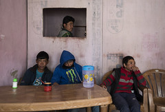 At Chushul (Ravikanth K) Tags: 500px chushul ladakh leh kids people restaurant table chairs indoor travel window waiting food pink