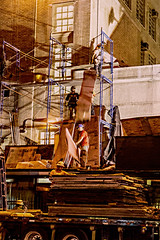 Finally Workers Remove Scaffolding At Seward Park HS LES (evening shot) (nrhodesphotos(the_eye_of_the_moment)) Tags: dsc08022300 theeyeofthemoment21gmailcom wwwflickrcomphotostheeyeofthemoment removal les sewardparkhs workers people candid metal steel brick architecture outdoors nightphoto hardhats plywood windows school scaffolding truck semi glass shadows light