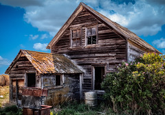 Old House with Clouds (Explored 9/24/16) (qualistat) Tags: alberta house farm dilapidated building wood clouds old