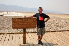 Me in my Death Valley T-shirt Donna bought me in Glasgow now transported all the way to Death valley (Joe mulgrew) Tags: this is badwater basin 282 feet below sea level sign says makes for natural convection oven which why temperature when we got there was least 54 degrees centigrade me death valley tshirt donna bought glasgow now transported all way