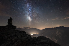 Milky Way Above Val d'Aosta (a galaxy far, far away...) Tags: voielacte vialattea milkyway night nightscape longexposure cairn mountain mountainscape landscape testadiliconi valledaosta aostavalley nightphotography atmosphere atmospheric mood moody robertobertero canon stars stelle toiles milchstrase universe outdoor wilderness otherworldly nature alpi alpen alpine hiking alps italy